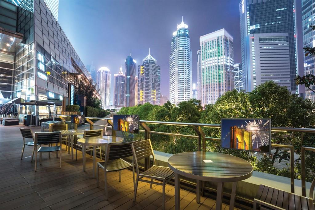 coffee bar in modern city