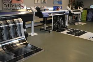 Diverse printers in de showroom.
