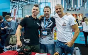 World Wrap Masters 2016, v.l.n.r.: Michael Szwacki uit het Verenigd Koninkrijk (derde), Jim Miller uit de VS (eerste) en Ruan Greeff uit Zuid-Afrika  (tweede).
